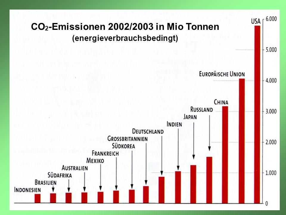 CO 2 -Emissionen 2002/2003 in Mio Tonnen (energieverbrauchsbedingt)