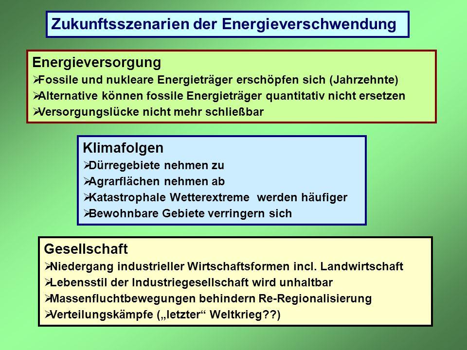 Zukunftsszenarien der Energieverschwendung Energieversorgung Fossile und nukleare Energieträger erschöpfen sich (Jahrzehnte) Alternative können fossil