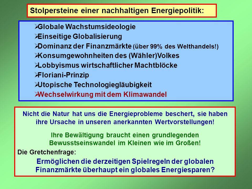 Stolpersteine einer nachhaltigen Energiepolitik: Globale Wachstumsideologie Einseitige Globalisierung Dominanz der Finanzmärkte (über 99% des Welthand