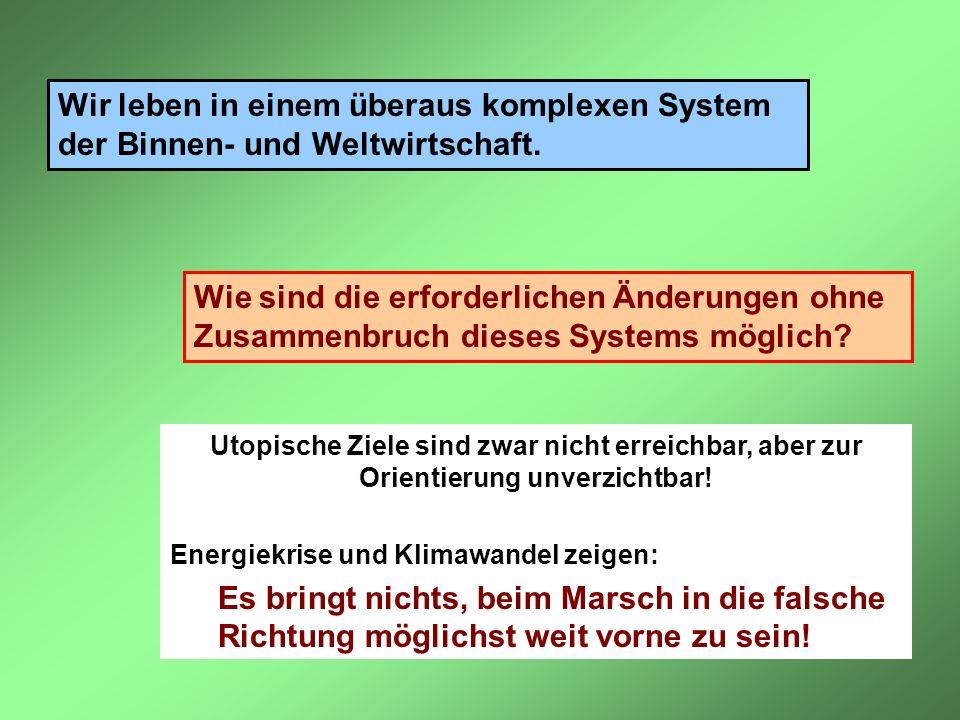 Wir leben in einem überaus komplexen System der Binnen- und Weltwirtschaft. Wie sind die erforderlichen Änderungen ohne Zusammenbruch dieses Systems m