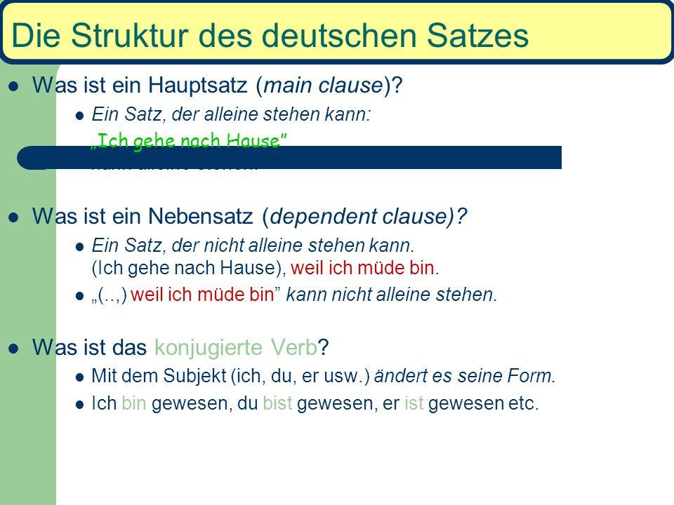 Die Struktur des deutschen Satzes Was ist ein Hauptsatz (main clause).
