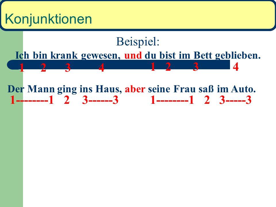 Konjunktionen Wichtige koordinierende Konjunktionen: und oder sondern aber denn Wortstellung bei diesen Konjunktionen: 1 2 3 4 Konj. 1 2 3 4 Koordinie
