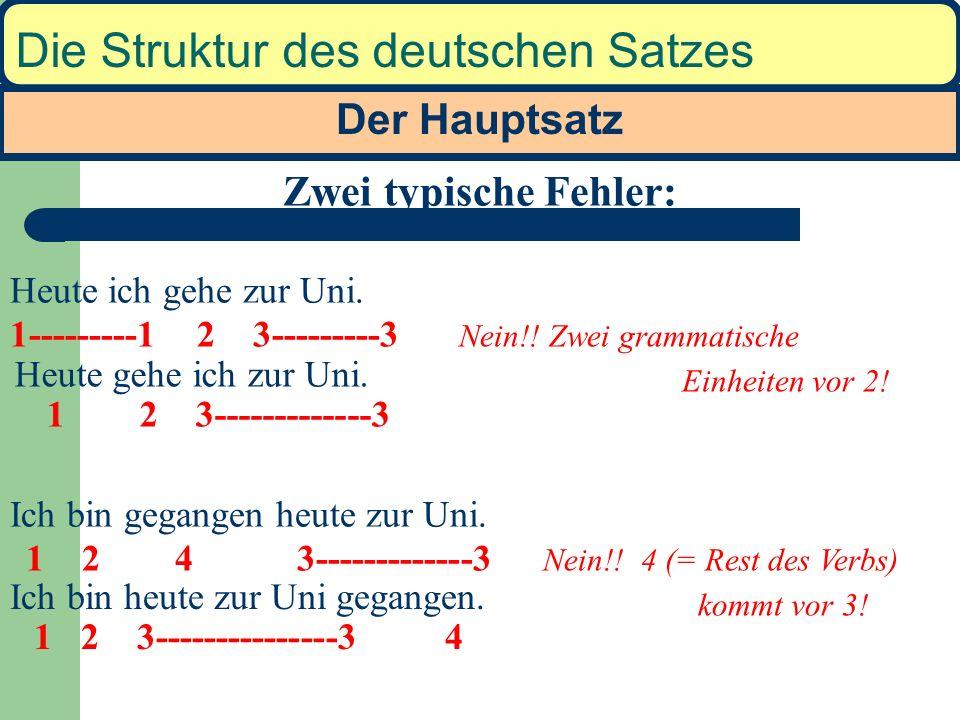 Der Hauptsatz Die Struktur des deutschen Satzes Ich gehe. Ich darf gehen. Ich darf in den Park gehen. Heute darf ich in den Park gehen. Gestern bin ic