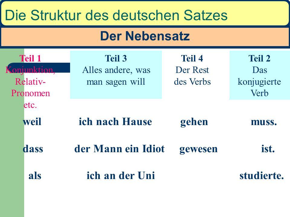Der Nebensatz Die Struktur des deutschen Satzes Die Wortstellung im Nebensatz ist eine Variante des Hauptsatzes: Walter ist krank gewesen. 1 2 3 4 Ich
