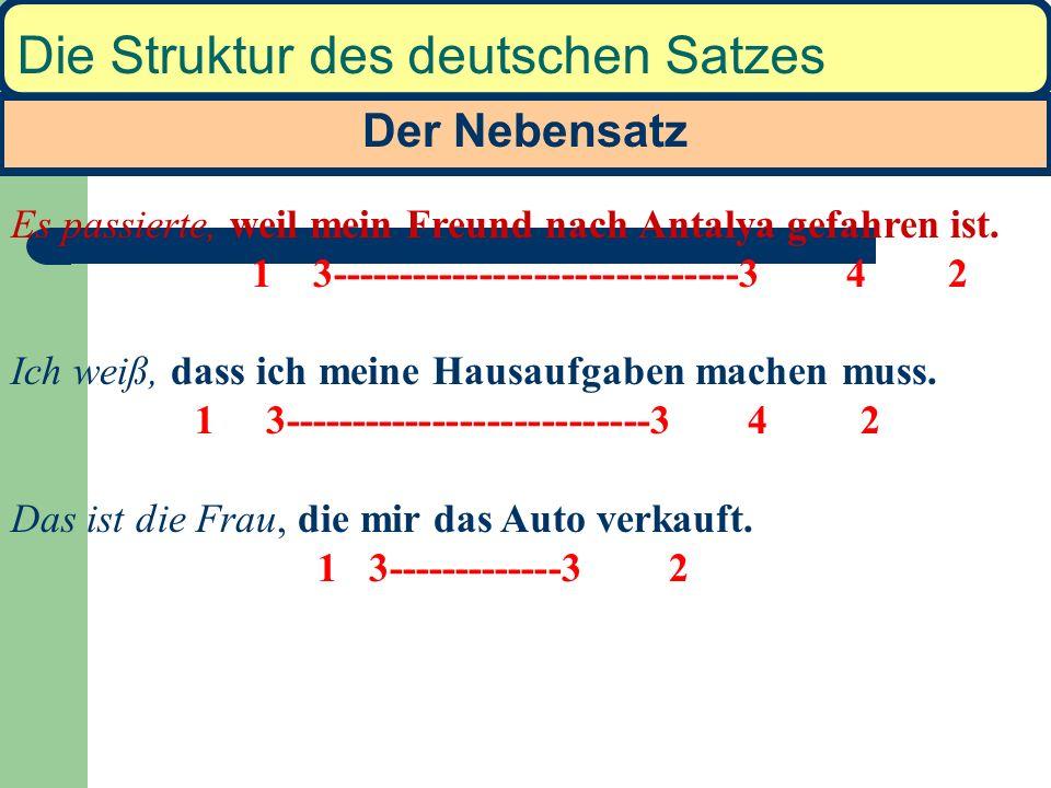 Der Nebensatz Die Struktur des deutschen Satzes Es passierte, weil mein Freund nach Antalya gefahren ist.