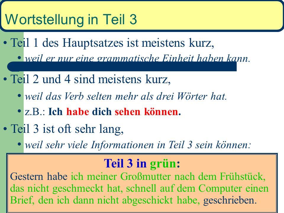 Wortstellung in Fragen In W-Fragen – Teil 1 = Fragewort – Teil 2, 3 und 4 wie im Hauptsatz Warum bist du nach Hause gegangen? 1 2 3----------------3 4