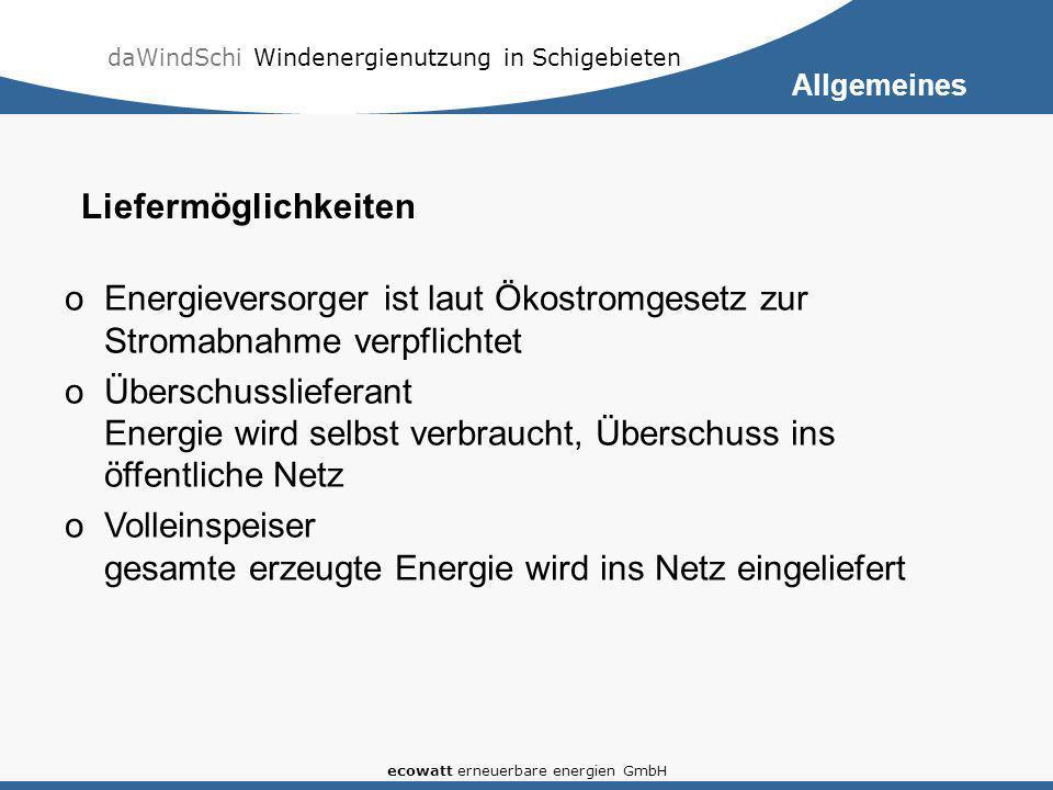 daWindSchi Windenergienutzung in Schigebieten ecowatt erneuerbare energien GmbH oEnergieversorger ist laut Ökostromgesetz zur Stromabnahme verpflichte