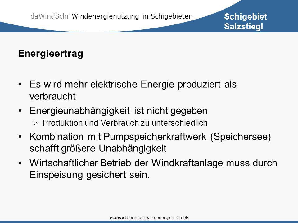 daWindSchi Windenergienutzung in Schigebieten ecowatt erneuerbare energien GmbH Energieertrag Es wird mehr elektrische Energie produziert als verbrauc