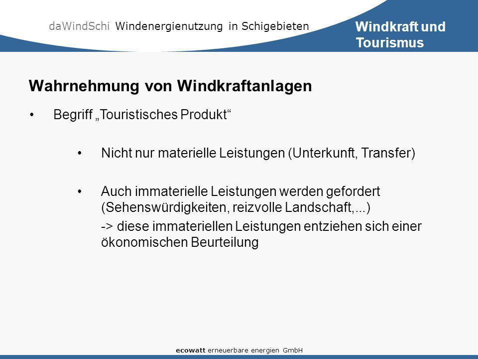 daWindSchi Windenergienutzung in Schigebieten ecowatt erneuerbare energien GmbH Wahrnehmung von Windkraftanlagen Begriff Touristisches Produkt Nicht n