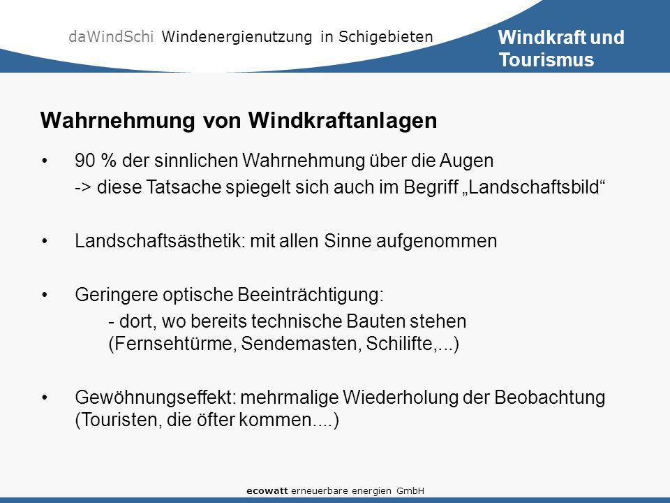 daWindSchi Windenergienutzung in Schigebieten ecowatt erneuerbare energien GmbH Wahrnehmung von Windkraftanlagen 90 % der sinnlichen Wahrnehmung über die Augen -> diese Tatsache spiegelt sich auch im Begriff Landschaftsbild Landschaftsästhetik: mit allen Sinne aufgenommen Geringere optische Beeinträchtigung: - dort, wo bereits technische Bauten stehen (Fernsehtürme, Sendemasten, Schilifte,...) Gewöhnungseffekt: mehrmalige Wiederholung der Beobachtung (Touristen, die öfter kommen....) Windkraft und Tourismus