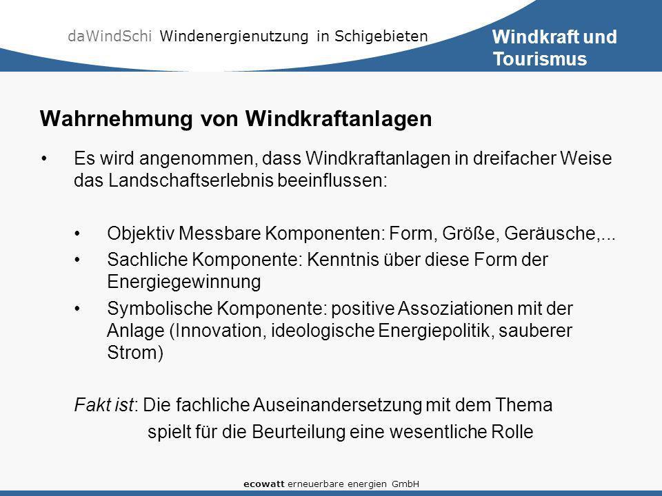 daWindSchi Windenergienutzung in Schigebieten ecowatt erneuerbare energien GmbH Wahrnehmung von Windkraftanlagen Es wird angenommen, dass Windkraftanlagen in dreifacher Weise das Landschaftserlebnis beeinflussen: Objektiv Messbare Komponenten: Form, Größe, Geräusche,...