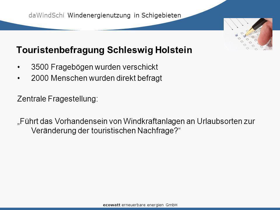 daWindSchi Windenergienutzung in Schigebieten ecowatt erneuerbare energien GmbH Touristenbefragung Schleswig Holstein 3500 Fragebögen wurden verschick