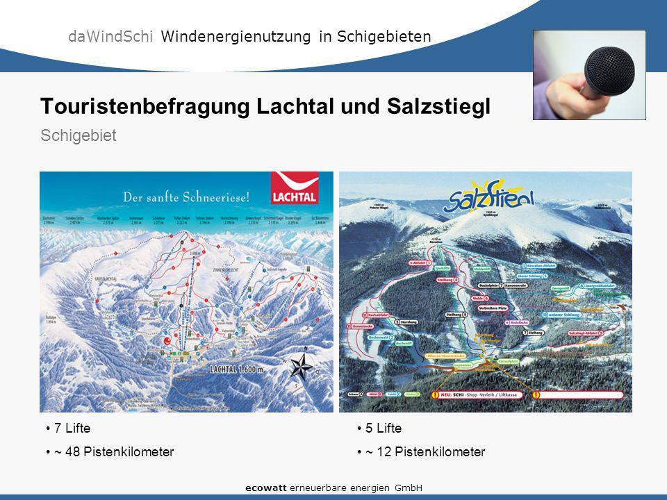 daWindSchi Windenergienutzung in Schigebieten ecowatt erneuerbare energien GmbH Touristenbefragung Lachtal und Salzstiegl Schigebiet 7 Lifte ~ 48 Pistenkilometer 5 Lifte ~ 12 Pistenkilometer