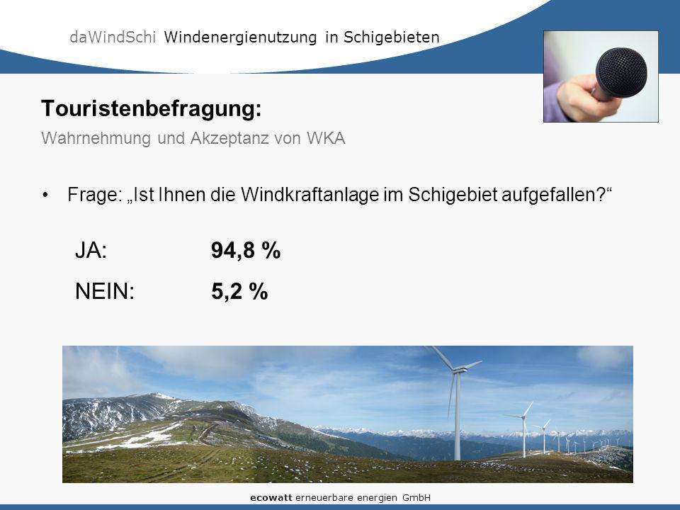 daWindSchi Windenergienutzung in Schigebieten ecowatt erneuerbare energien GmbH Touristenbefragung: Wahrnehmung und Akzeptanz von WKA Frage: Ist Ihnen