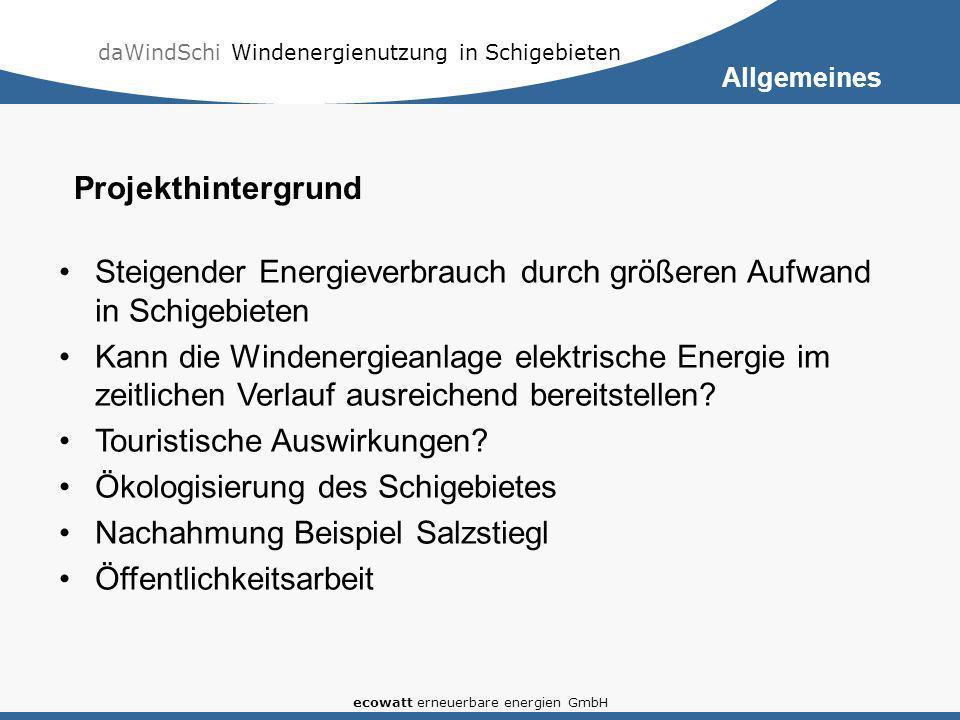 daWindSchi Windenergienutzung in Schigebieten ecowatt erneuerbare energien GmbH Stromproduktion in Österreich – Stand 2006 (Grafik: Wikipedia) 56 % Wasserkraft 35 % fossile Energiequellen 5 % Windkraft 4% Biomasse Allgemeines