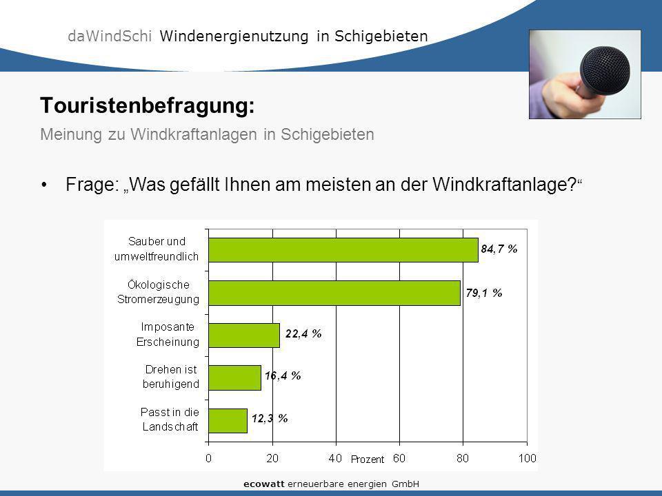 daWindSchi Windenergienutzung in Schigebieten ecowatt erneuerbare energien GmbH Frage: Was gefällt Ihnen am meisten an der Windkraftanlage? Touristenb