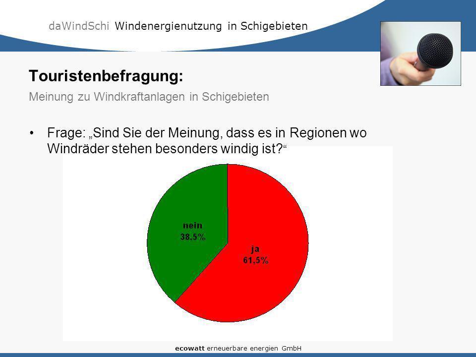 daWindSchi Windenergienutzung in Schigebieten ecowatt erneuerbare energien GmbH Frage: Sind Sie der Meinung, dass es in Regionen wo Windräder stehen b