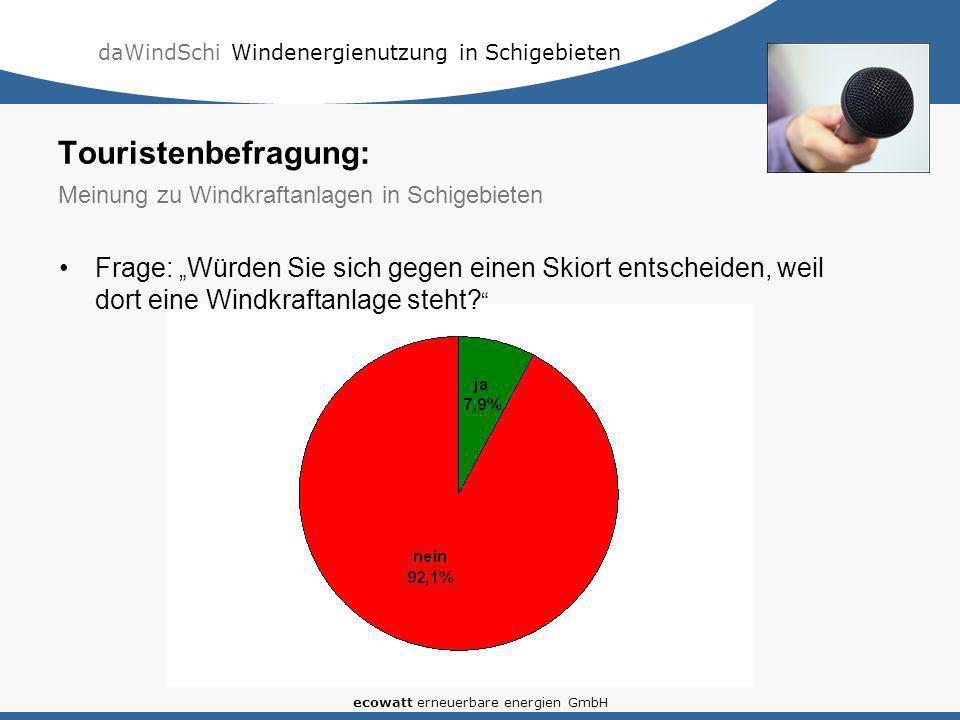 daWindSchi Windenergienutzung in Schigebieten ecowatt erneuerbare energien GmbH Frage: Würden Sie sich gegen einen Skiort entscheiden, weil dort eine Windkraftanlage steht.