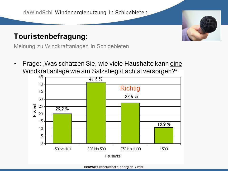 daWindSchi Windenergienutzung in Schigebieten ecowatt erneuerbare energien GmbH Frage: Was schätzen Sie, wie viele Haushalte kann eine Windkraftanlage wie am Salzstiegl/Lachtal versorgen.