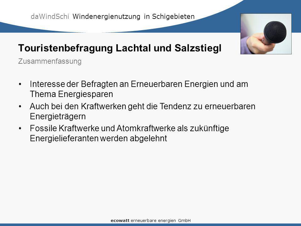 daWindSchi Windenergienutzung in Schigebieten ecowatt erneuerbare energien GmbH Interesse der Befragten an Erneuerbaren Energien und am Thema Energies