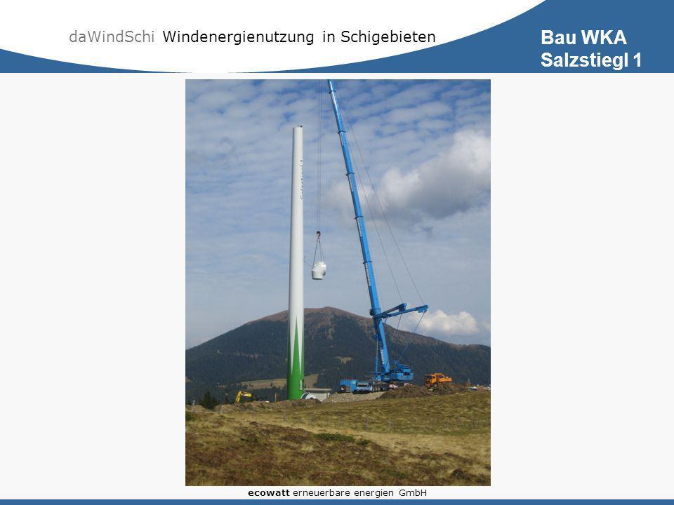 daWindSchi Windenergienutzung in Schigebieten ecowatt erneuerbare energien GmbH Bau WKA Salzstiegl 1