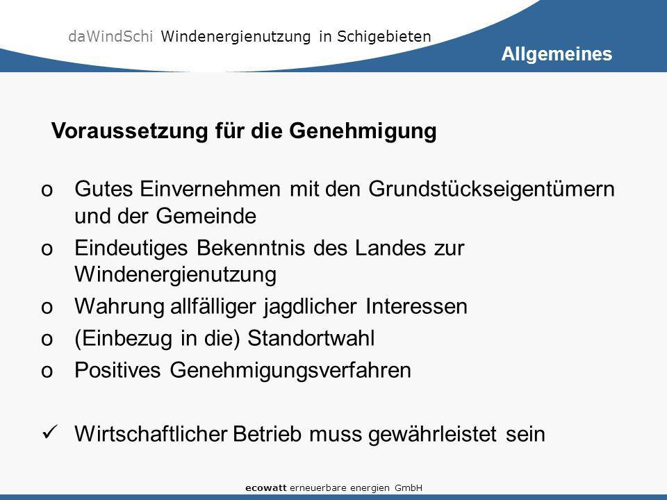 daWindSchi Windenergienutzung in Schigebieten ecowatt erneuerbare energien GmbH oGutes Einvernehmen mit den Grundstückseigentümern und der Gemeinde oE