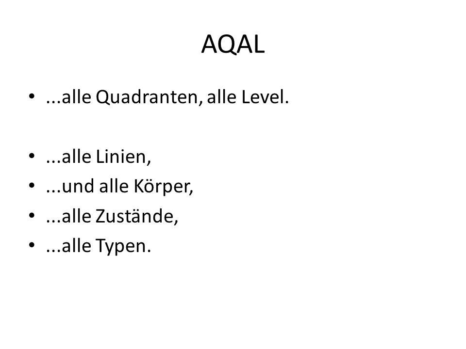 AQAL...alle Quadranten, alle Level....alle Linien,...und alle Körper,...alle Zustände,...alle Typen.