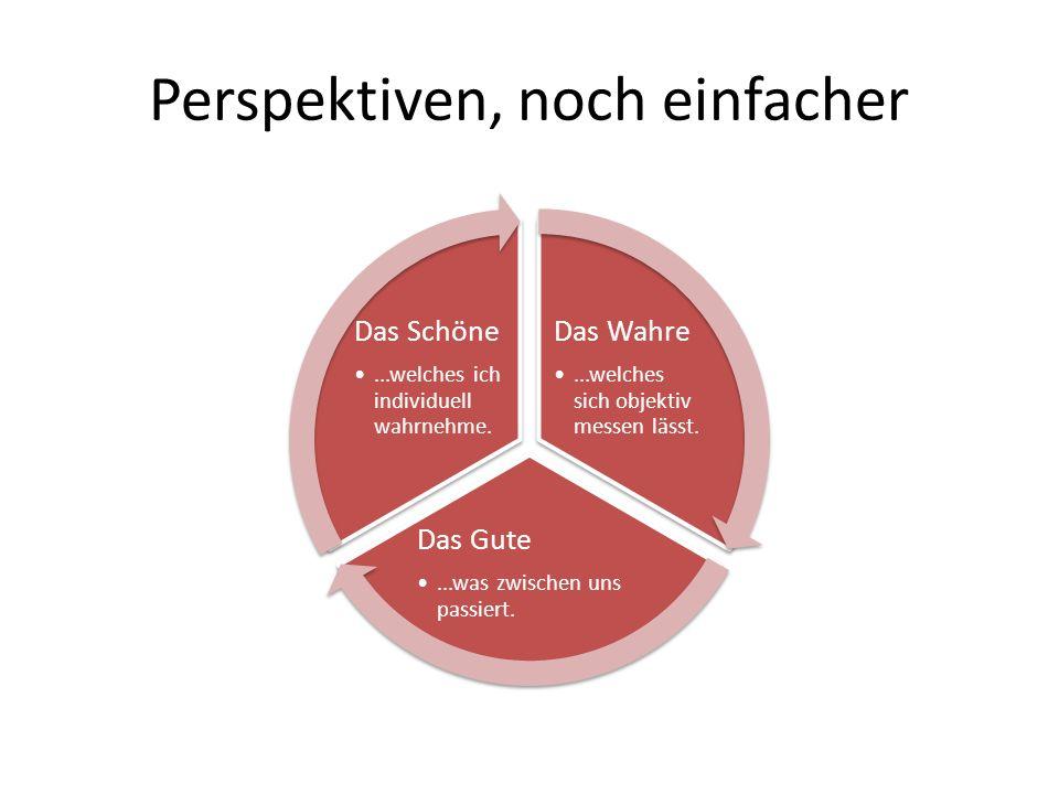 Perspektiven, noch einfacher Das Wahre...welches sich objektiv messen lässt.