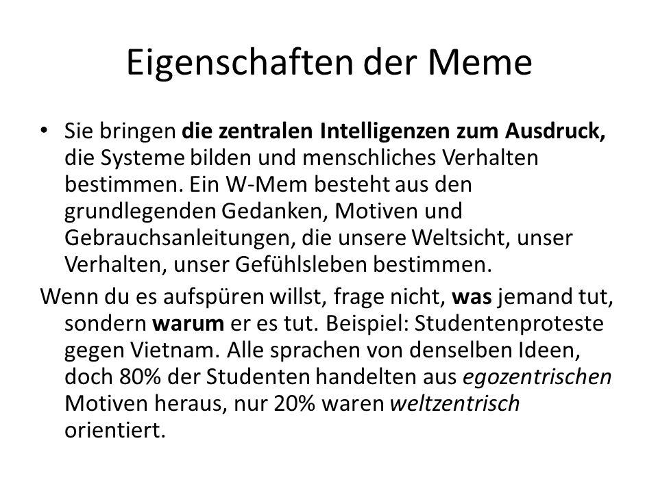 Eigenschaften der Meme Sie bringen die zentralen Intelligenzen zum Ausdruck, die Systeme bilden und menschliches Verhalten bestimmen.