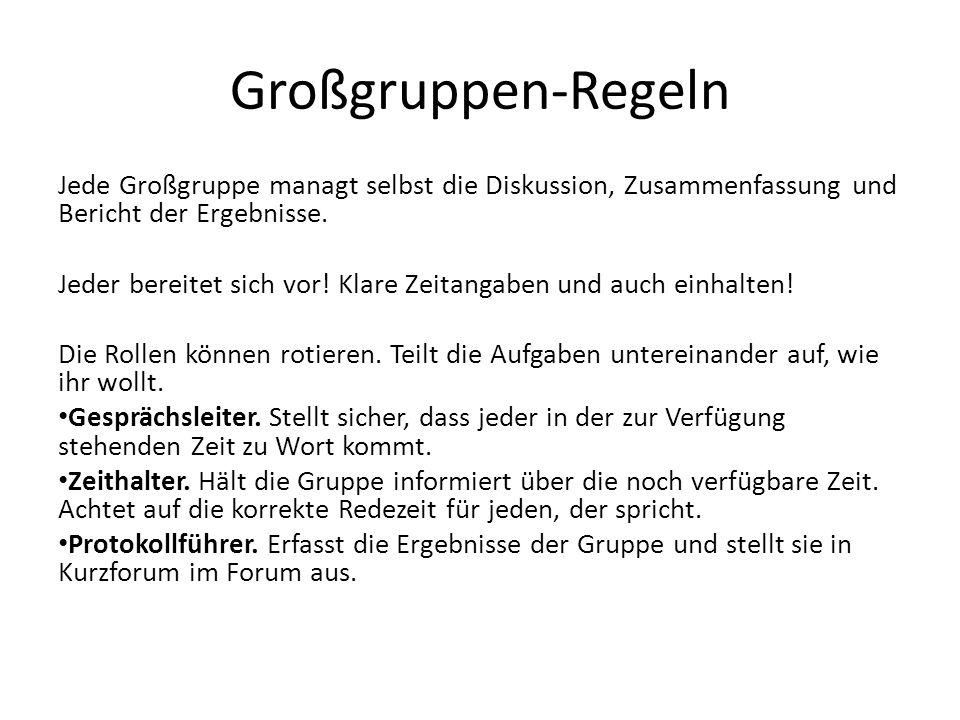 Großgruppen-Regeln Jede Großgruppe managt selbst die Diskussion, Zusammenfassung und Bericht der Ergebnisse.