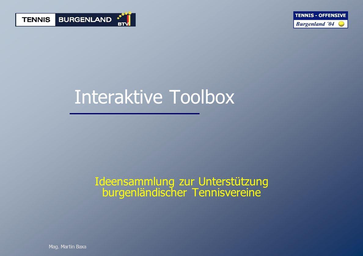 Mag. Martin Baxa Interaktive Toolbox Ideensammlung zur Unterstützung burgenländischer Tennisvereine