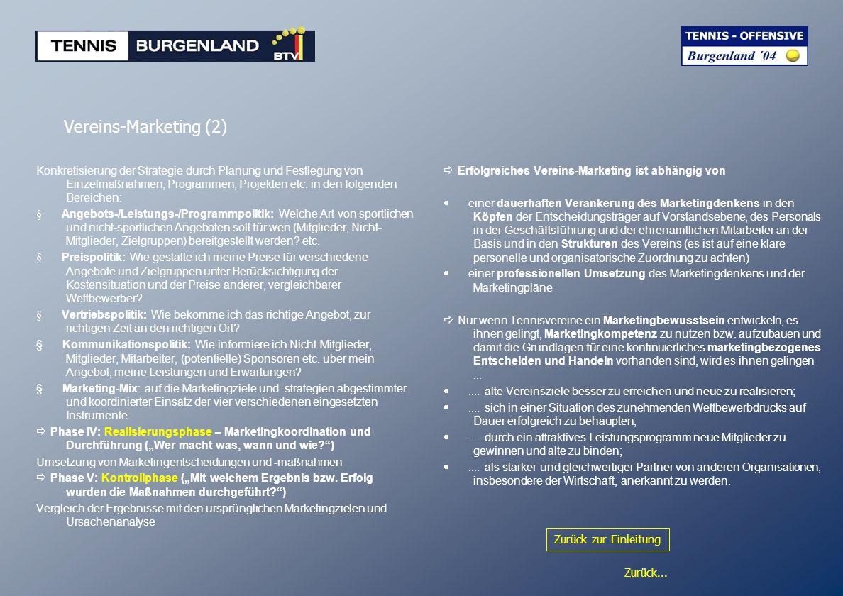 Zurück... Vereins-Marketing (2) Konkretisierung der Strategie durch Planung und Festlegung von Einzelmaßnahmen, Programmen, Projekten etc. in den folg
