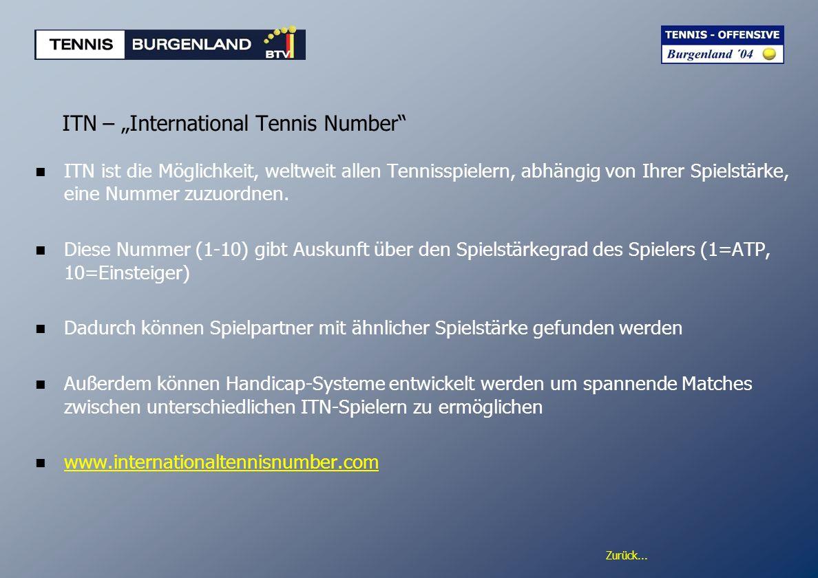 Zurück... ITN – International Tennis Number ITN ist die Möglichkeit, weltweit allen Tennisspielern, abhängig von Ihrer Spielstärke, eine Nummer zuzuor