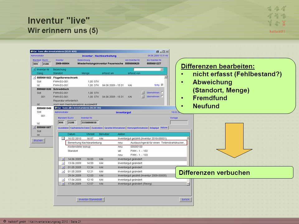 hallobtf! gmbh / Kai-Inventarisierungstag 2010 / Seite 21 Differenzen bearbeiten: nicht erfasst (Fehlbestand?) Abweichung (Standort, Menge) Fremdfund