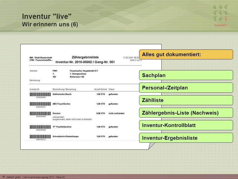 hallobtf! gmbh / Kai-Inventarisierungstag 2010 / Seite 22 Alles gut dokumentiert: Sachplan Personal-/Zeitplan Zählliste Zählergebnis-Liste (Nachweis)