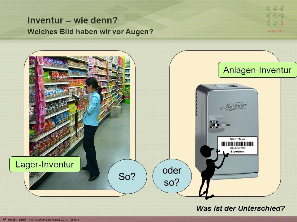 hallobtf! gmbh / Kai-Inventarisierungstag 2010 / Seite 8 Inventur – wie denn? Welches Bild haben wir vor Augen? Was ist der Unterschied? So? oder so?