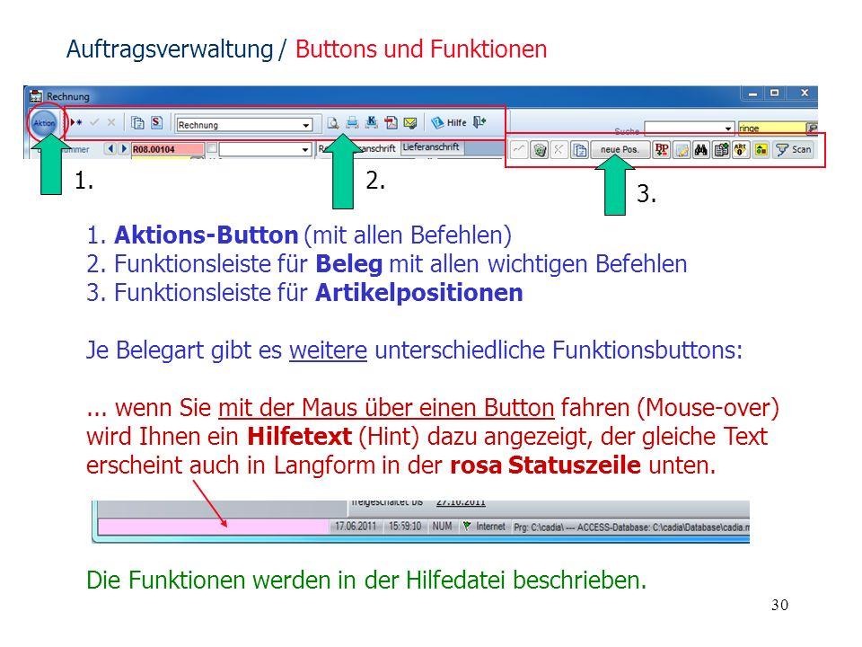 30 1. Aktions-Button (mit allen Befehlen) 2. Funktionsleiste für Beleg mit allen wichtigen Befehlen 3. Funktionsleiste für Artikelpositionen Je Belega