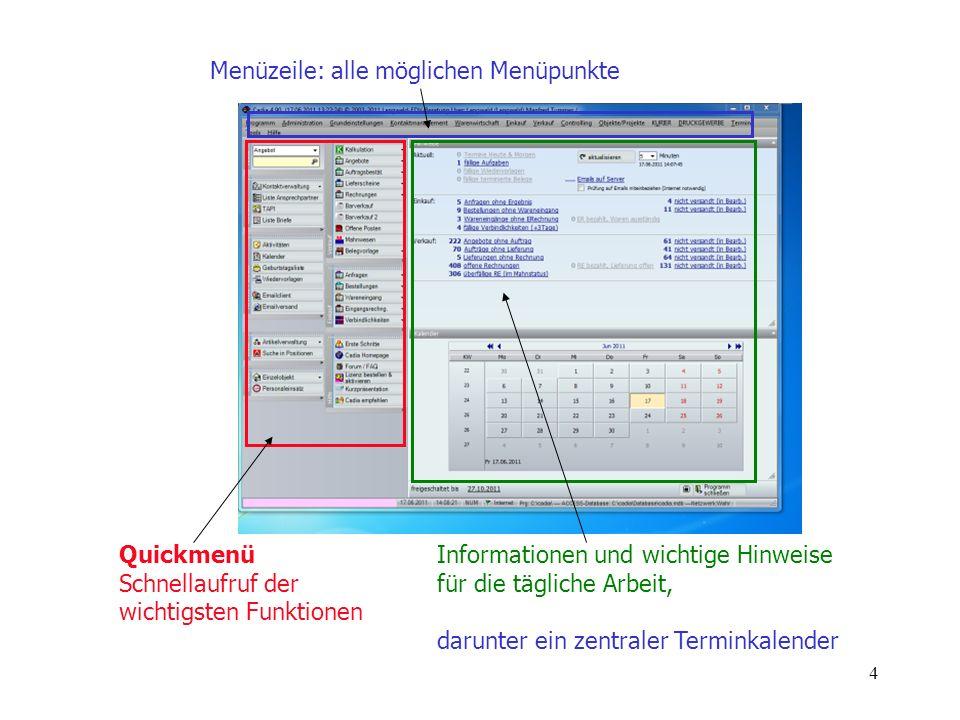 4 Quickmenü Schnellaufruf der wichtigsten Funktionen Informationen und wichtige Hinweise für die tägliche Arbeit, darunter ein zentraler Terminkalende