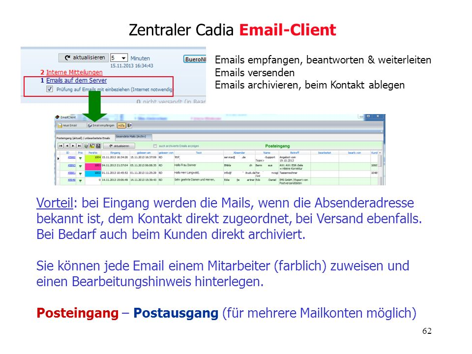 62 Zentraler Cadia Email-Client Vorteil: bei Eingang werden die Mails, wenn die Absenderadresse bekannt ist, dem Kontakt direkt zugeordnet, bei Versan
