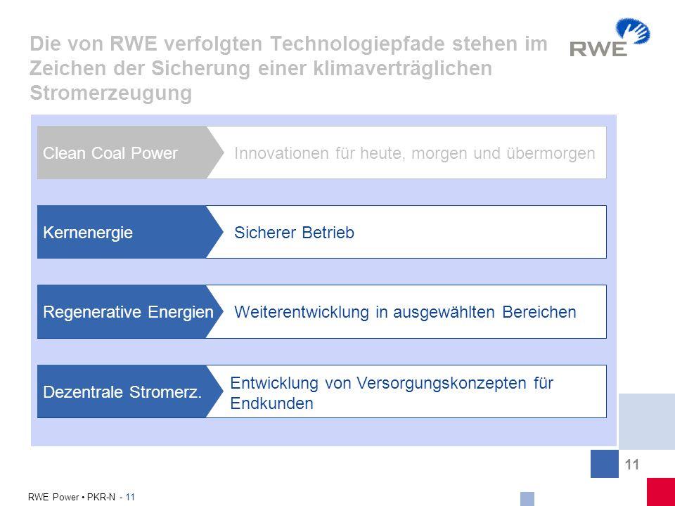 11 RWE Power PKR-N - 11 Die von RWE verfolgten Technologiepfade stehen im Zeichen der Sicherung einer klimaverträglichen Stromerzeugung Clean Coal Pow