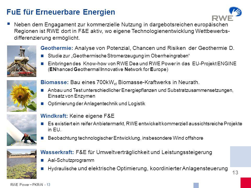 13 RWE Power PKR-N - 13 FuE für Erneuerbare Energien Geothermie: Analyse von Potenzial, Chancen und Risiken der Geothermie D. Studie zur Geothermische