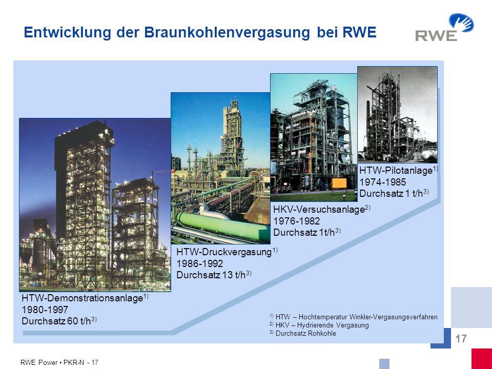 17 RWE Power PKR-N - 17 Entwicklung der Braunkohlenvergasung bei RWE HTW-Pilotanlage 1) 1974-1985 Durchsatz 1 t/h 3) HTW-Druckvergasung 1) 1986-1992 D