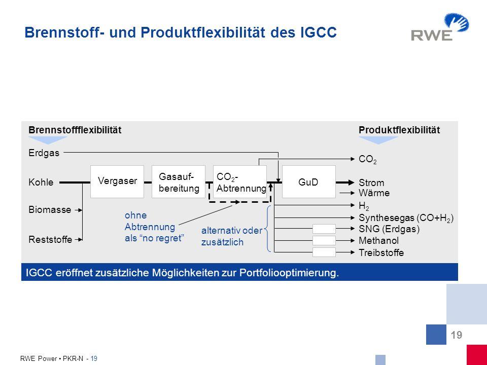 19 RWE Power PKR-N - 19 IGCC eröffnet zusätzliche Möglichkeiten zur Portfoliooptimierung. CO 2 Vergaser Gasauf- bereitung CO 2 - Abtrennung GuD Erdgas