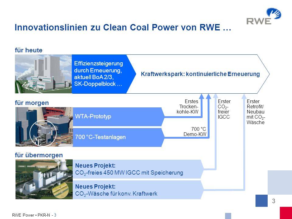 3 RWE Power PKR-N - 3 Innovationslinien zu Clean Coal Power von RWE … für heute WTA-Prototyp für morgen Erstes Trocken- kohle-KW 700 °C-Testanlagen 70