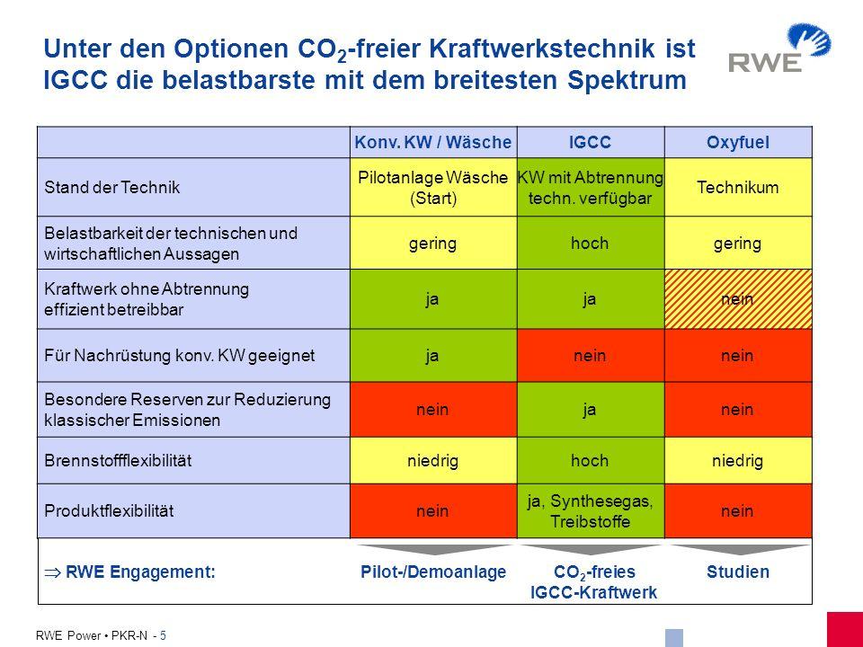 5 RWE Power PKR-N - 5 Unter den Optionen CO 2 -freier Kraftwerkstechnik ist IGCC die belastbarste mit dem breitesten Spektrum Konv. KW / WäscheIGCCOxy