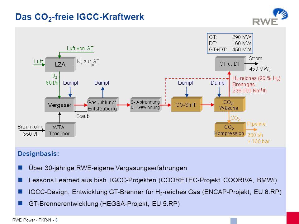 6 RWE Power PKR-N - 6 Designbasis: Über 30-jährige RWE-eigene Vergasungserfahrungen Lessons Learned aus bish. IGCC-Projekten (COORETEC-Projekt COORIVA