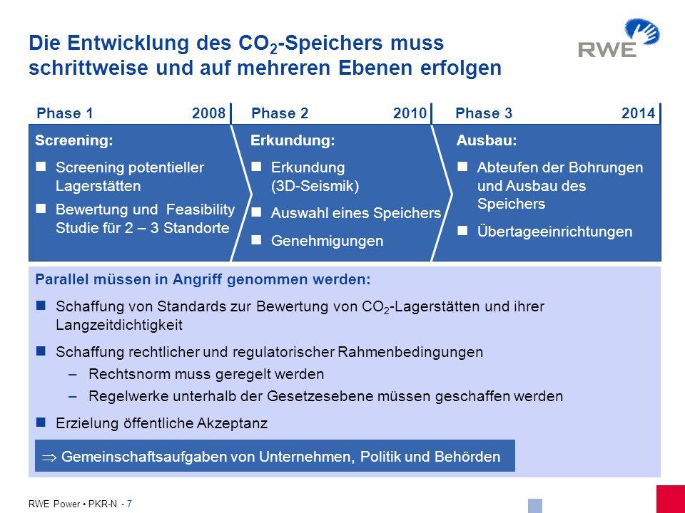 7 RWE Power PKR-N - 7 Die Entwicklung des CO 2 -Speichers muss schrittweise und auf mehreren Ebenen erfolgen Parallel müssen in Angriff genommen werde