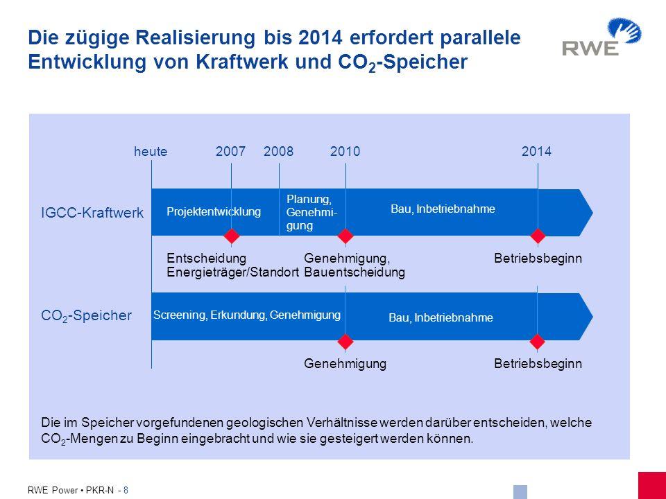 8 RWE Power PKR-N - 8 IGCC-Kraftwerk CO 2 -Speicher Screening, Erkundung, Genehmigung Bau, Inbetriebnahme Genehmigung, Bauentscheidung Betriebsbeginn