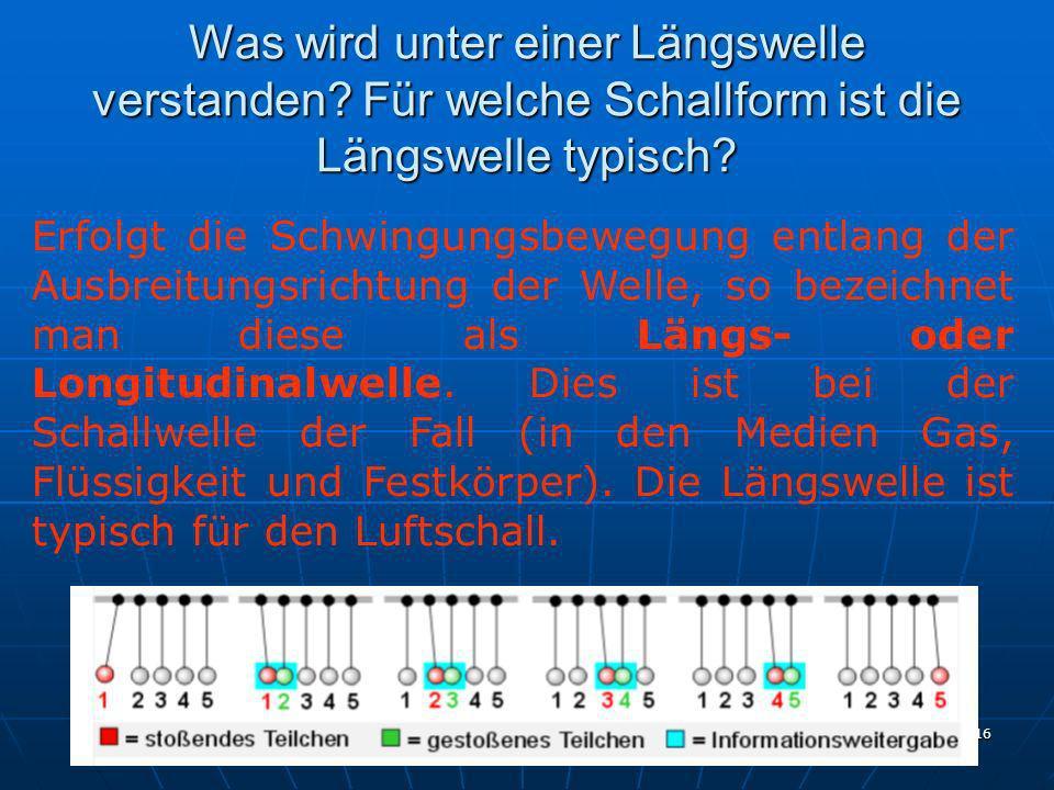 Ing. G. Kulle 16 Was wird unter einer Längswelle verstanden? Für welche Schallform ist die Längswelle typisch? Erfolgt die Schwingungsbewegung entlang