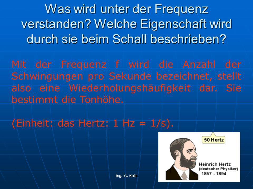 Ing.G. Kulle 5 Erkläre den Begriff der Wellenlänge und der Periodendauer.